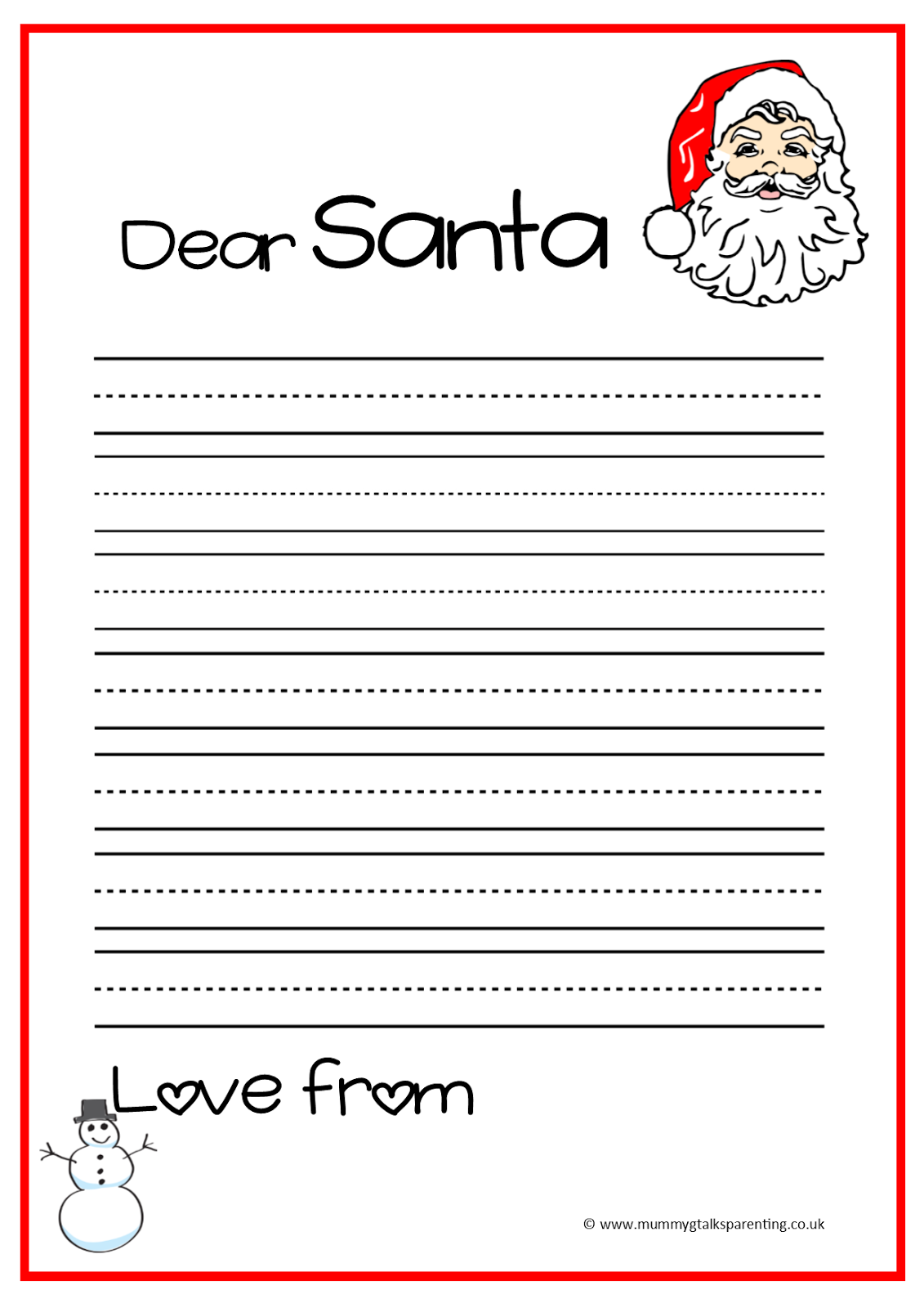FREEBIE letter to Santa template Mummy G talks parenting