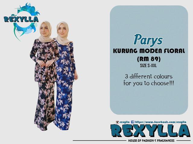 rexylla, baju kurung, kurung moden, floral, floral print, parys collection