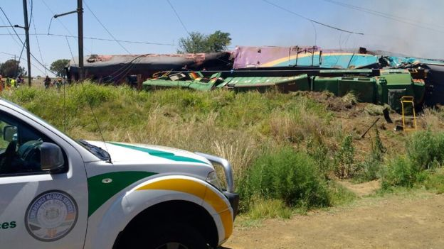 South Africa train crash: Fourteen dead in truck collision