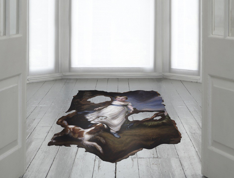 Unusual and Beautiful Area Rugs Combine Art and Faux Cowhide.