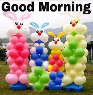 four bunny good morning image for whatsapp