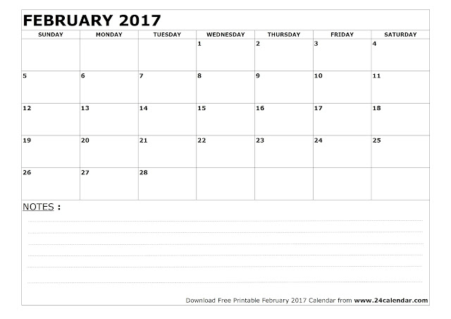 February 2017 Calendar Printable | Holidays | Pdf Word - Get