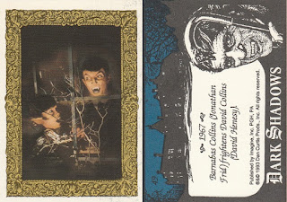 Jonathan Frid as Barnabas Collins baring fangs trading card from 1993 Dark Shadows set