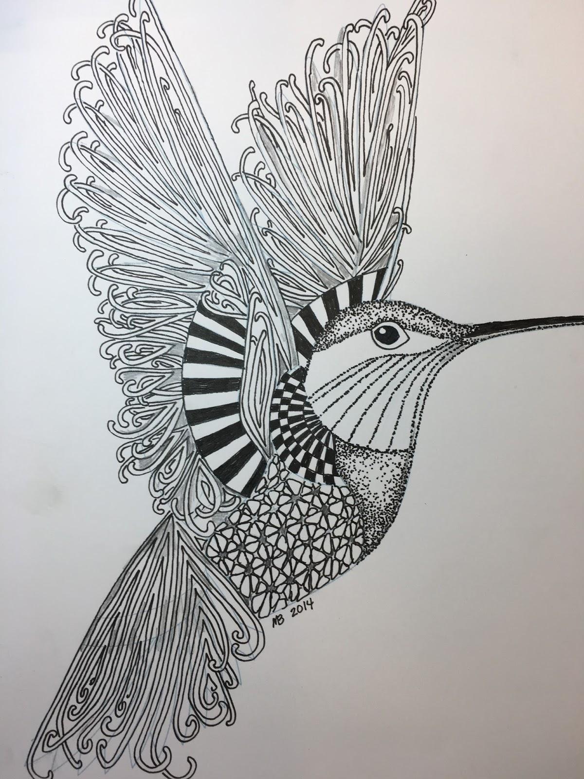Inkidoodles Melinda Barlow Czt Mooka Hummingbird Tangle