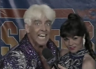WCW SUPERBRAWL VI 1996 - Ric Flair and Woman gave a backstage promo