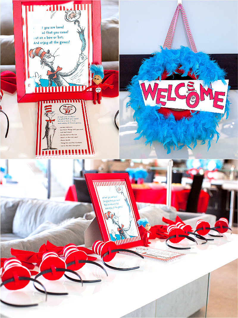 Cat in The Hat Inspired Birthday Party DIY Decorations - via BirdsParty.com
