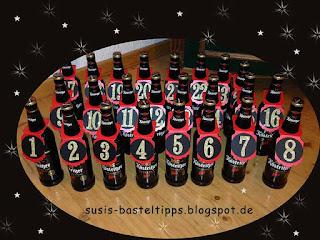 DIY Männer Adventskalender mit Köstritzer Bier und Anhängern aus Stampin' Up! Produkten; Idee von Unabhängiger Stampin Up Demonstratorin Susanne McDonald