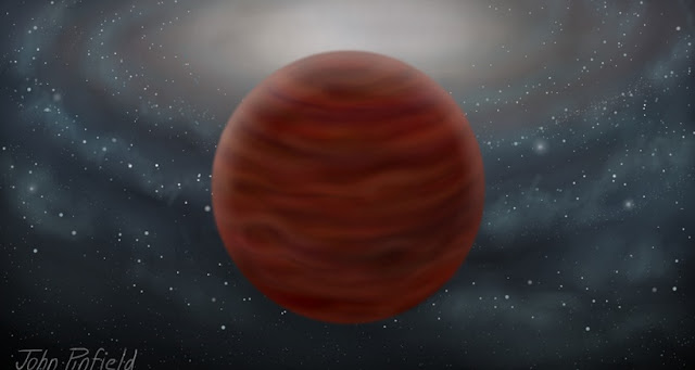 An artist's impression of the new pure and massive brown dwarf. Credit: John Pinfield.
