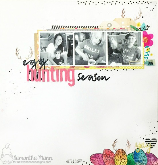 Egg Hunting Season Scrapbook Layout by Samantha Mann | Beautiful Spring Stamp set & Splendid Stags Die set by Newton's Nook Designs #newtonsnook