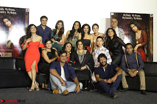 Vidya Balan with Ila Arun Gauhar Khan and other girls and star cast at Trailer launch of move Begum Jaan 025.JPG