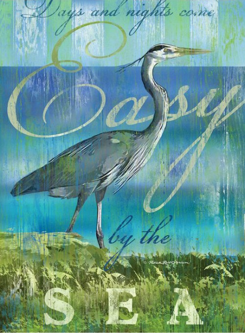 Blue Heron by the Sea Word Art