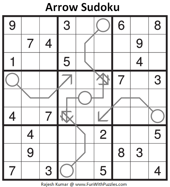 Arrow Sudoku Puzzle (Fun With Sudoku #308)