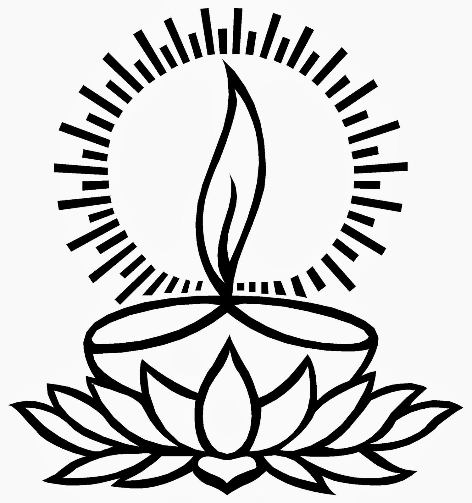 Diwali Diya Clip Art Sketch Coloring Page