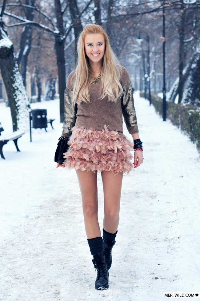 blog moda stradivarius spódniczka pióra