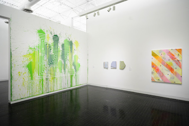 Santiago Cucullu, Rachel Hellmann, and Josh Dihle, in the Elmhurst Art Museum