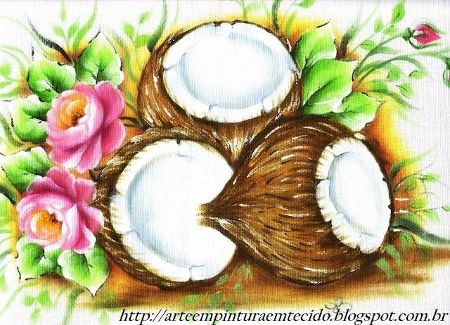 pintura em tecido pano de prato côco e rosas