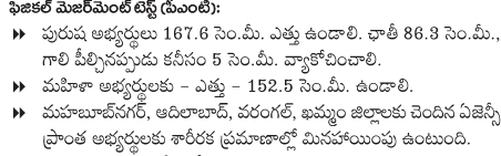 Telangana SI Physical Measurements Test (PMT) Detail and Conducting Date TS Sub Inspector of Police Notification 2016 after written Preliminary Written Test those who are passed PWT they will attend second stage is Physical Measurements Test (PMT) in physical measurement test they should have following height chest measurements Stipendiary Cadet Trainee (SCT) Sub Inspectors of Police Civil Men in Police Department Recruitment Notification 2016 at AR / SAR CPL / APSP/ SPF / Station Fire Officers (SFO) Man or Women Posts Communications transport.