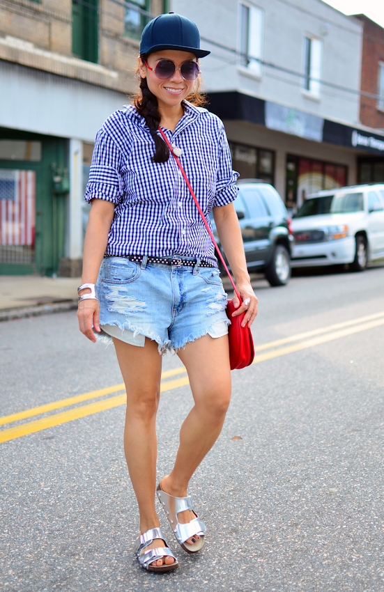 Gingham shirt with denim shorts