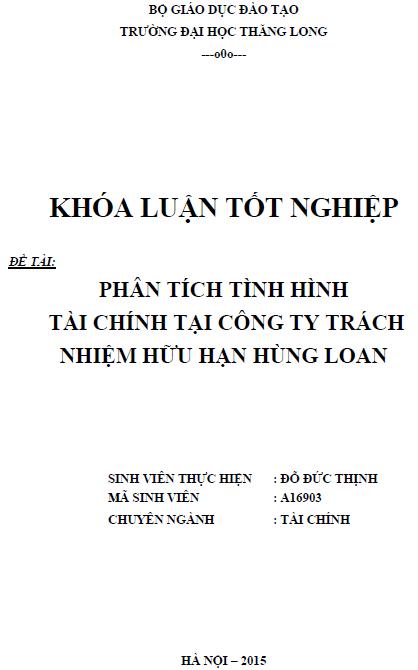 Phân tích tình hình tài chính tại Công ty TNHH Hùng Loan