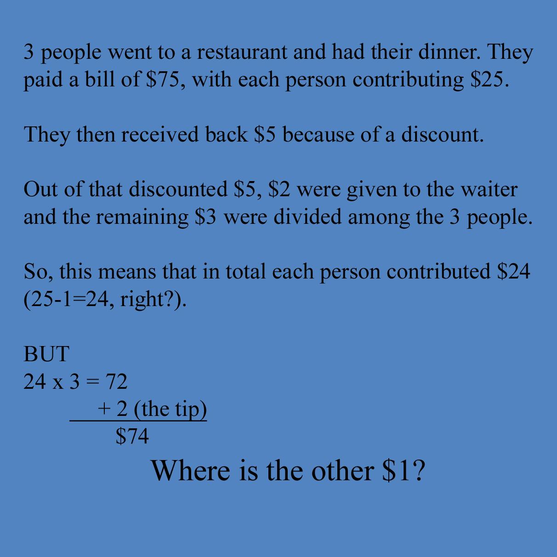 Missing dollar math problem