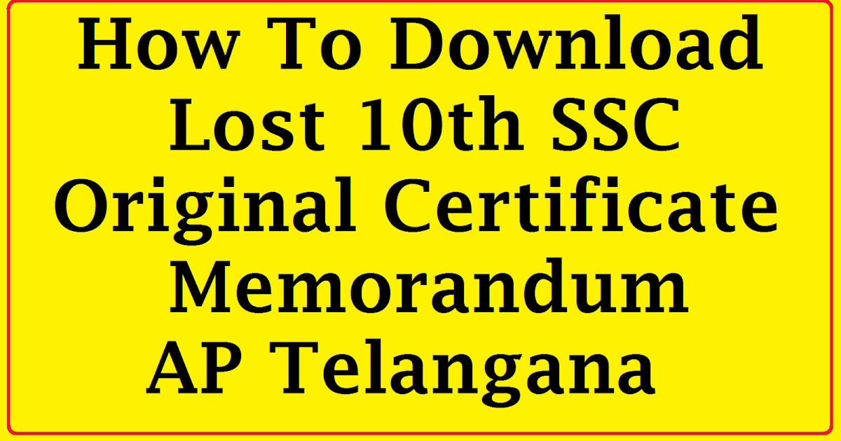How To Download Lost 10th SSC Original Certificate