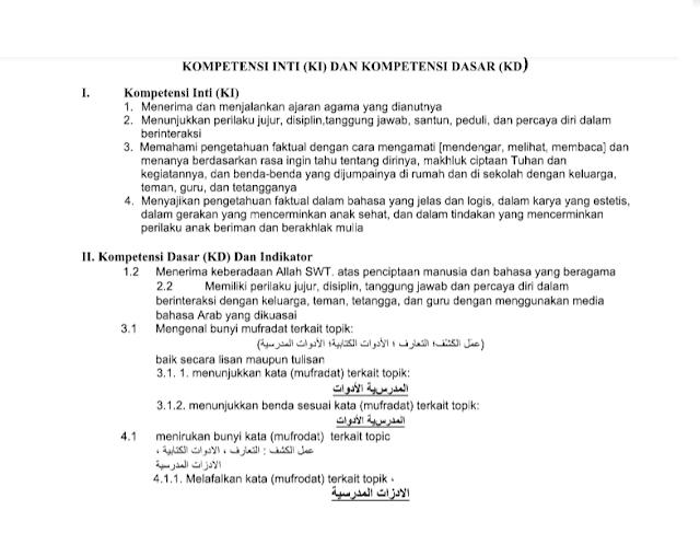 RPP Bahasa Arab Kelas 1 2 3 4 5 6 Semester I dan II