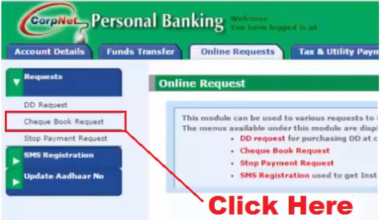 how to get cheque book from corporation bank online