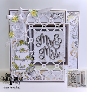 Our Daily Bread Designs Stamp Set: Long Lasting Love, Custom Dies: Scalloped Chain, Mr & Mrs, Roses, Fancy Foliage, Paper Collection: Wedding Wishes, Fun and Fancy Folds Card Kit: Tri-fold