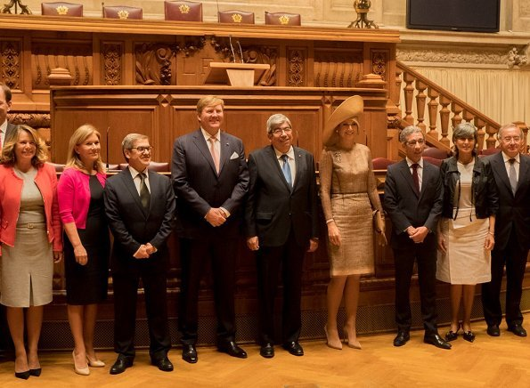 Queen Maxima wore a new Natan dress. Lisbon mayor Fernando Medina. President Marcelo Rebelo de Sousa