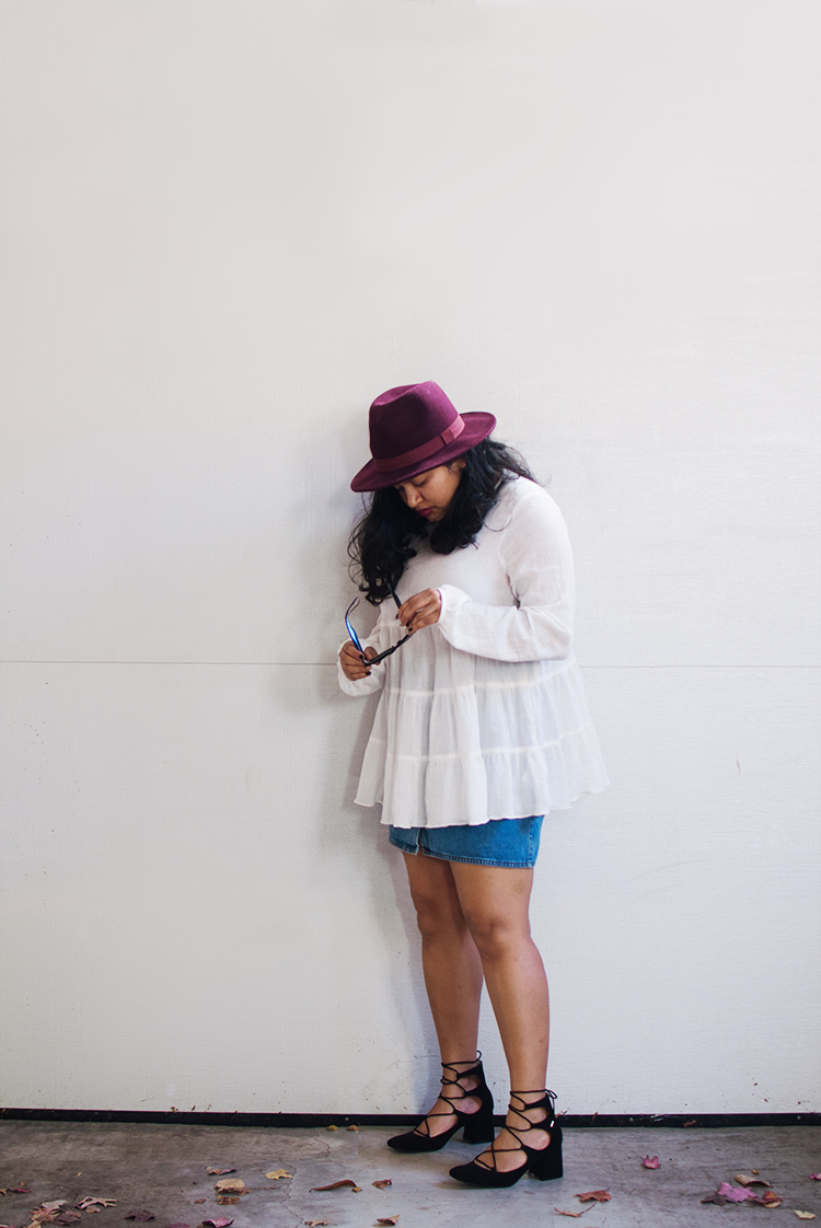 Kimchi Blue Gauze Babydoll Button-Back Shirt, urban outfitters tiered top, fall blogger style