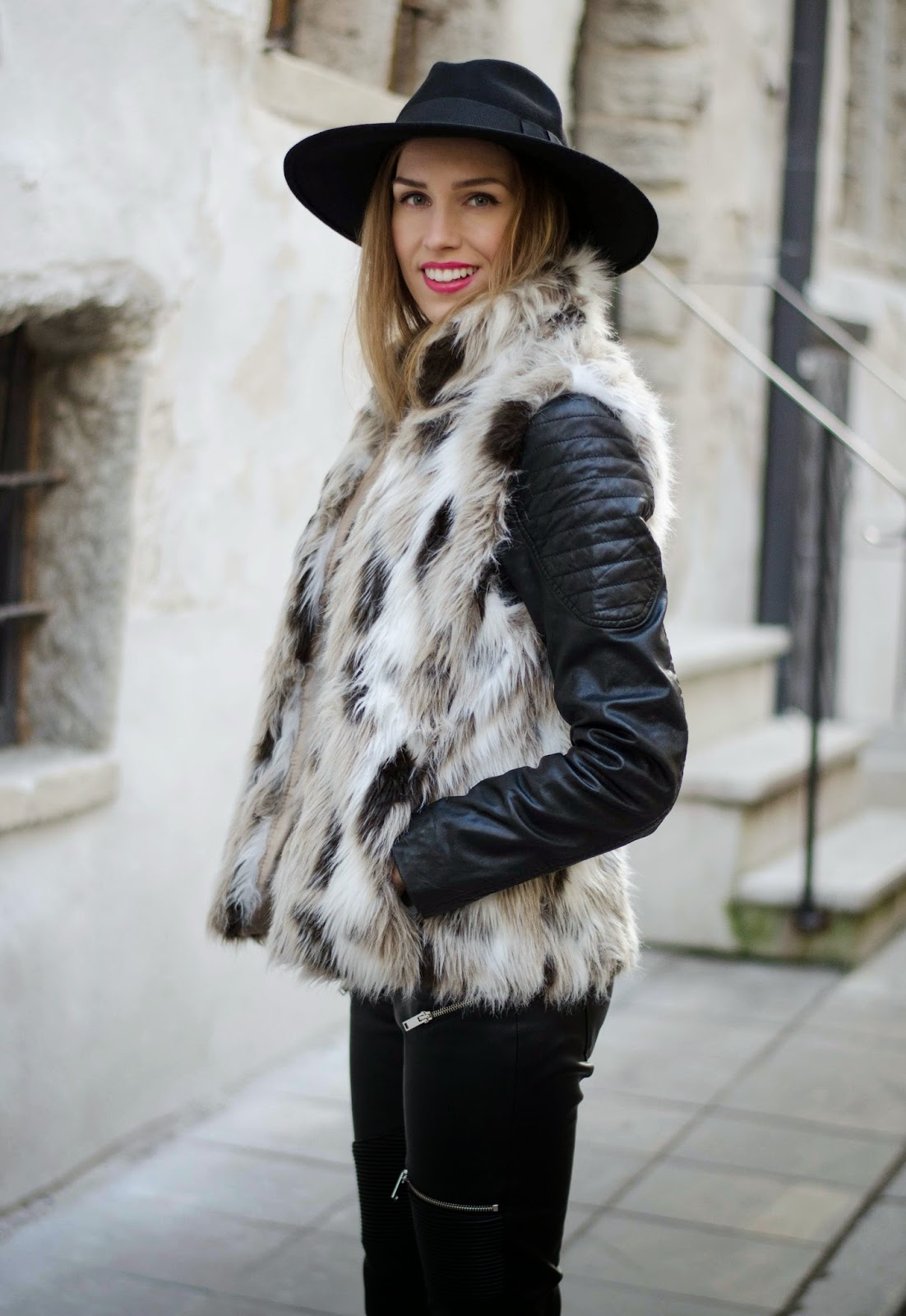 kristjaana mere fur vest leather pants fedora winter outfit