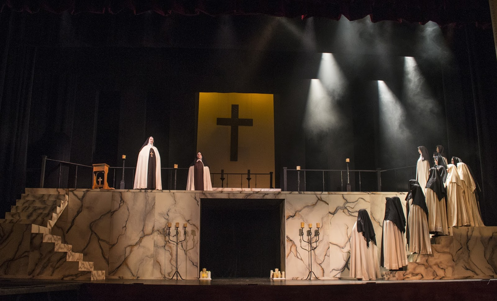 IN PERFORMANCE: a scene from UNCG Opera Theatre's production of Francis Poulenc's DIALOGUES OF THE CARMELITES, April 2016 [Photo by Rachel Anthony, © by rayphotographyco.com]