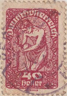 Briefmarke 40 Heller Deutschösterreich, Gestaltung: J.F. Renner.