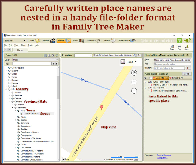 Once I saw how nicely Family Tree Maker organizes place names, I cleaned them all up.