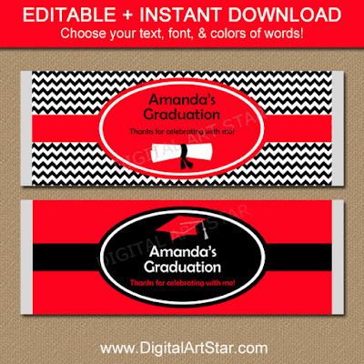 Red and black chevron editable graduation candy bar wrappers.  Use them as party favors!