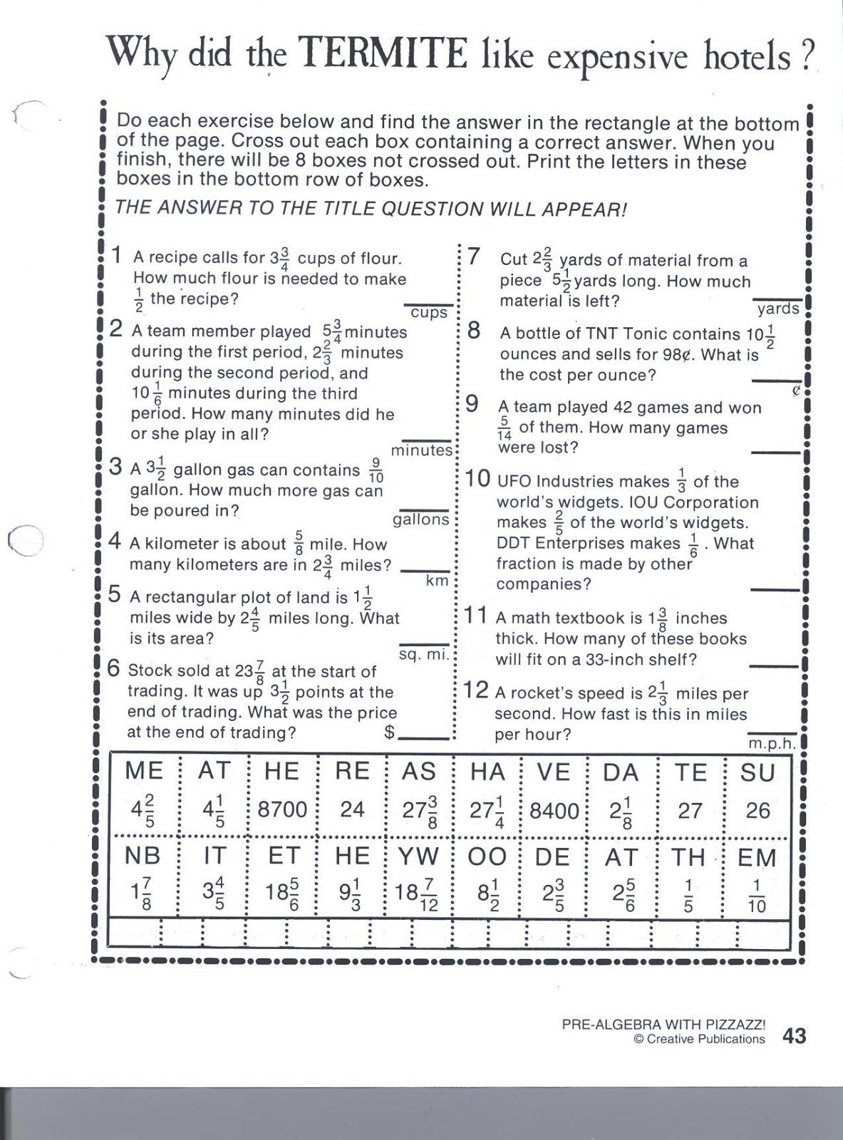 Pre Algebra With Pizzazz Answer Key