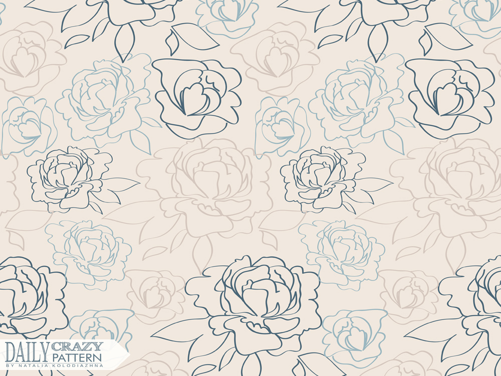 "Neutral outline pattern with peonies for ""Daily Crazy Pattern"" project"