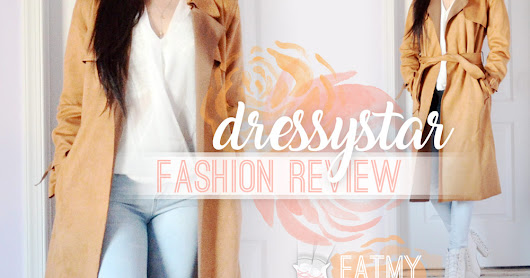 Dressystar Fashion Review: Faux Suede Trench Coat