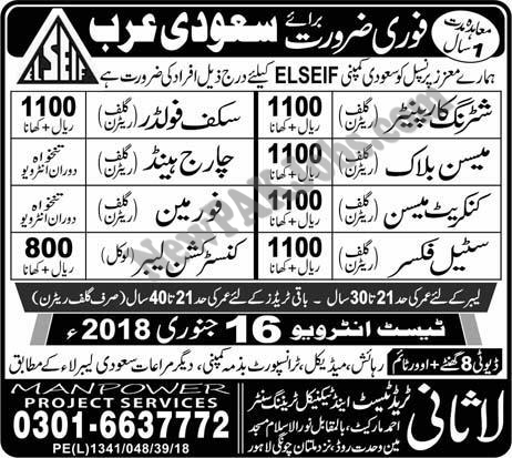 Overseas Jobs in Saudi Arabia For Mason, Shuttering, Steel Fixer and Other