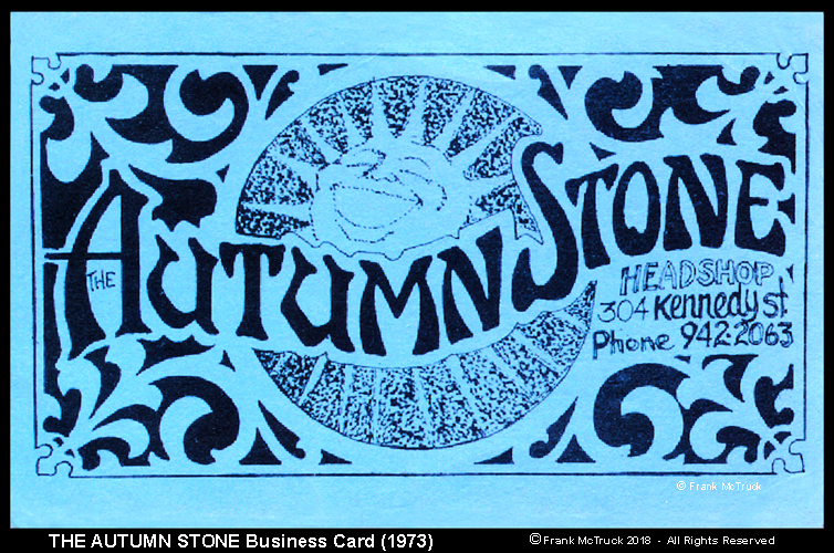 """The original business cards for """"The Autumn Stone"""" designed by James"""