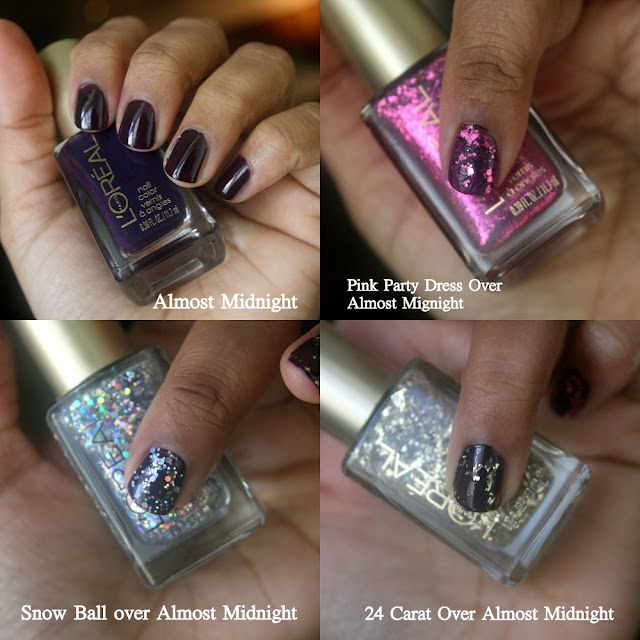 L'Oreal Holiday Soiree Nail Polish Collection 24 Carat, Almost Midnight, Snow Globe, Pink Party Dress Swatches