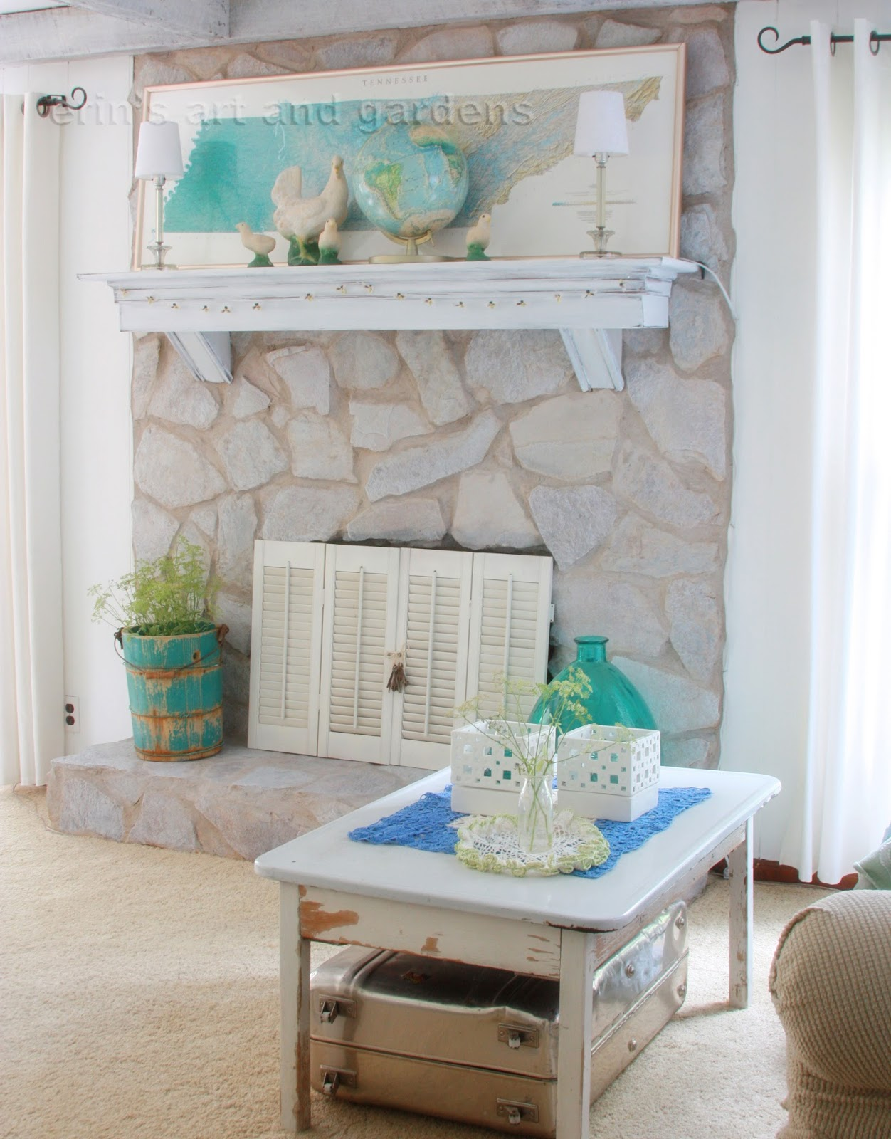 Painted stone fireplace, so happy with the results | For ...