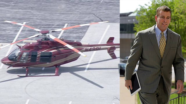 Kathryn's Report: Pilot flies Busch's helicopter out of Swansea