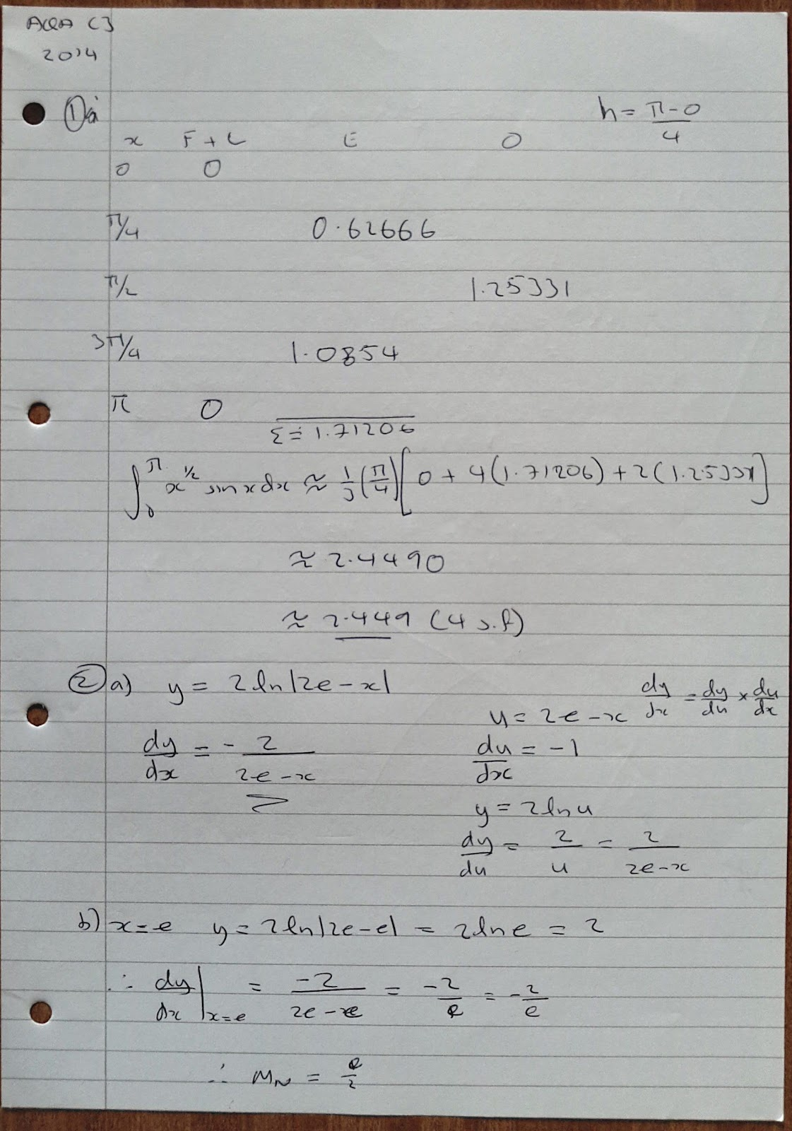 A Level Maths Notes Aqa Core 3 C3 Summer Exam Paper Solutions