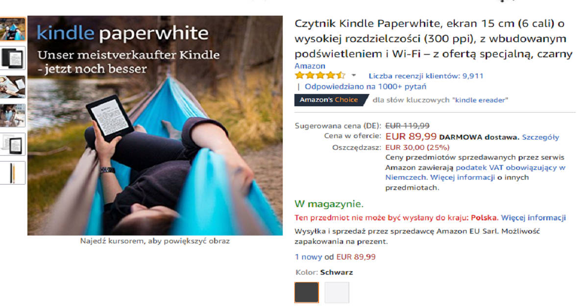 Kindle Paperwhite 23 tańszy o 30 euro w Amazon.de