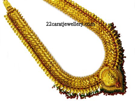 South Indian Traditional Gold Laxmi Haram Jewellery Designs