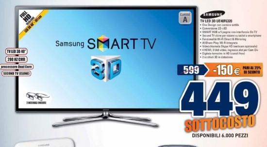 Smart tv 3d samsung ue40f6320 prezzo sottcosto con 6000 for Tv 75 pollici prezzo