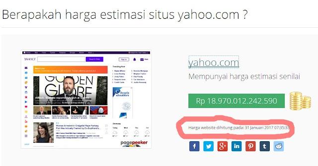 HARGA ESTIMASI SITUS YAHOO.COM