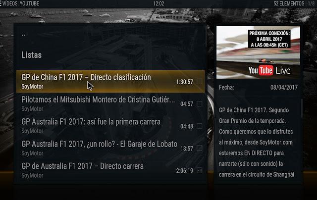 Listado de vídeos de youtube de F1 en KODI