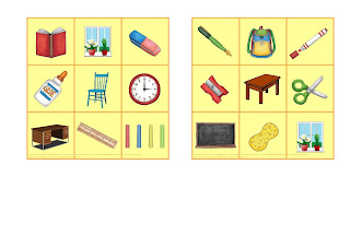Bingo school things and classroom things